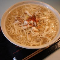 ☆3種のキノコの白だし餡かけにゅう麺☆