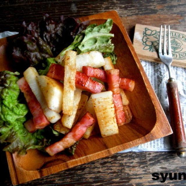 【簡単!!カフェごはん】長いもと厚切りベーコンのバター醤油