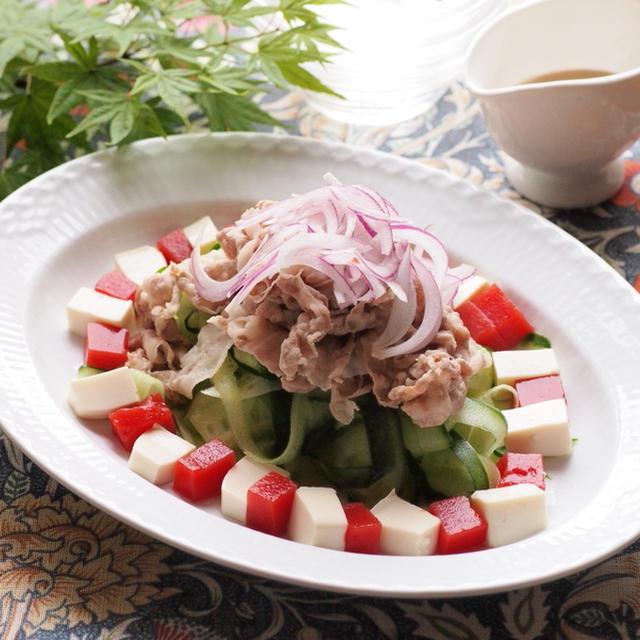 トマト寒天とお豆腐の冷しゃぶサラダ