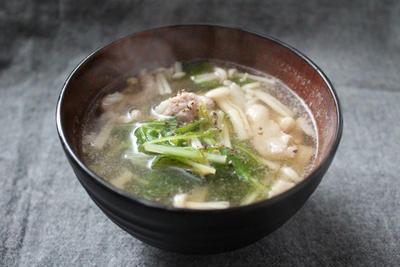 水菜とえのきだけの中華スープ
