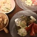 鯛のレモンバターソテー、ポテサラはキャベツ。
