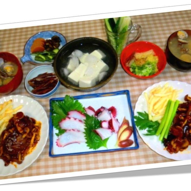 タルタルビーフハンバーグと蛸ブツで晩ご飯