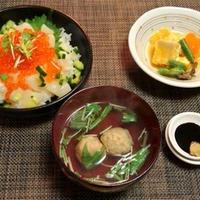 お取り寄せした食材で晩御飯☆いくらと貝柱の海鮮丼♪☆♪☆♪