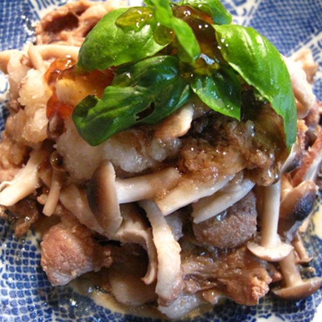 豚肉みぞれ生姜焼きぽん酢ジュレ乗せ、ひじきとブロッコリーのサラダ、ゴーヤと牛肉の牡蠣醤油いため