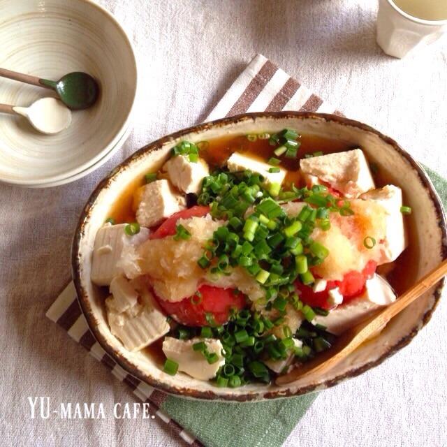 ぶっかけだしトマトの冷奴 〜 帆立と小松菜のしょう油バター炒め〜