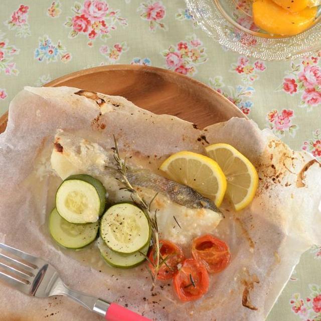 ローズマリーの風味がgoo!!『白身魚とズッキーニの蒸し焼き』