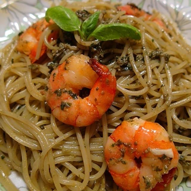海老のスパゲティ ジェノベーゼ