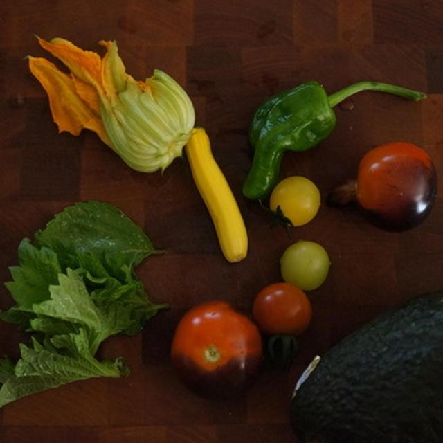 トマトとアボカドの和風紫蘇風味冷製パスタ