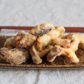 椎茸の竜田揚げと和風ハッシュドビーフ