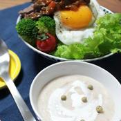 きのこと豆腐のカニカマポタージュ