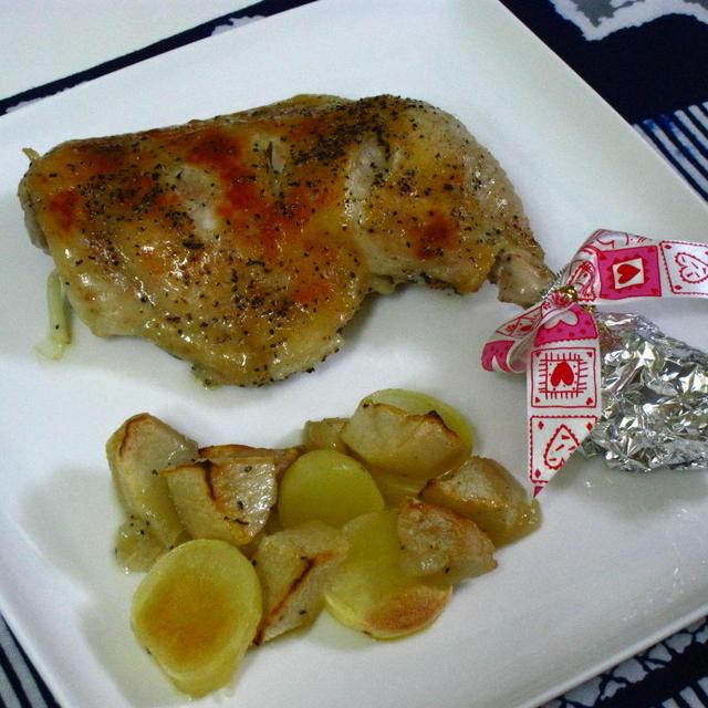 簡単ローストチキン~りんご&ポテト添え~