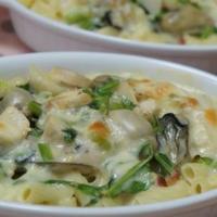 かぶと牡蠣のグラタン☆3分マカロニとソースで簡単に!