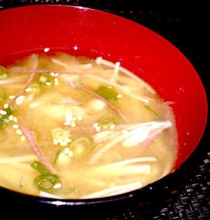 【レシピ】深い味わい!独特の風味が美味しい! みょうがとえのきの辛子味噌汁(^^♪