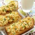 彩りにんにく卵黄スクランブルエッグトースト