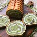 抹茶と甘納豆の渦巻きラウンドパン