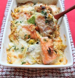 鮭と白菜の簡単和風グラタン ホワイトソースなしの短時間調理