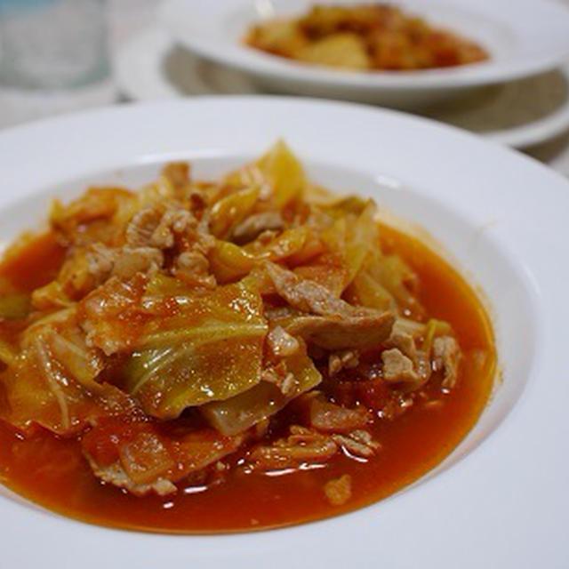 キャベツと豚肉のトマト煮