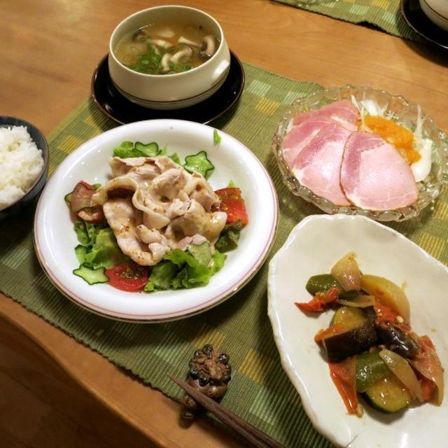 豚しゃぶサラダ &ラタトゥイユのヘルシー晩ご飯 と 公民館のひまわりの花♪