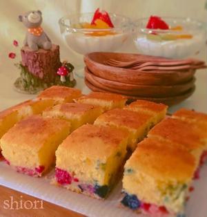 ☆ トースターでHMのフルーツパンケーキ♪。