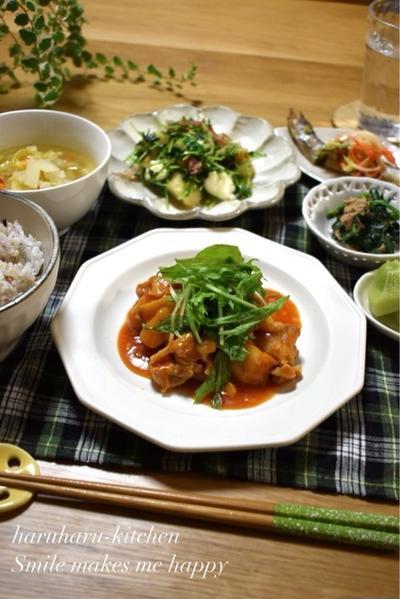 【レシピ】タレ旨っ!鶏肉とレンコンのチリソース煮♪…練習後の晩ごはん。