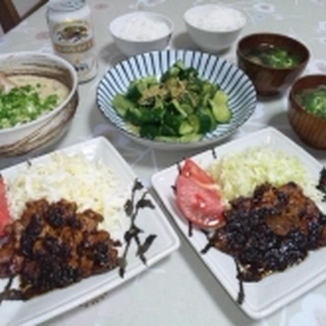 トンテキと、キュウリと生姜の浅漬け~♪