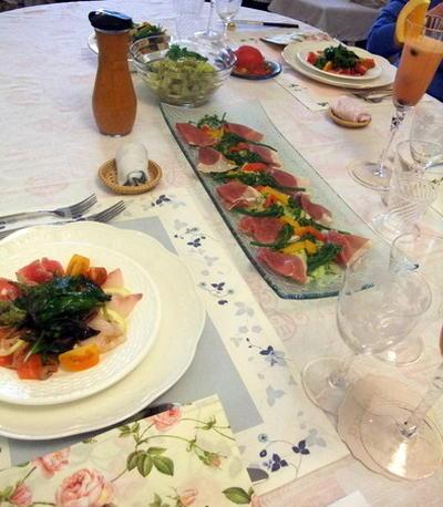 ランチ会 ロブスターのパスタ、枝豆スープ、マンゴタルト