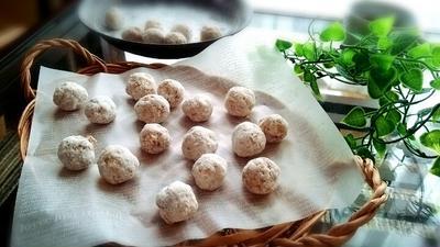 米粉ときなこのスノーボールクッキー*ココナッツオイルを使って*