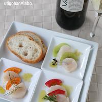 海のワイン「ビオンタ」でカルパー(4)☆ホタテのお刺身でフルーティーカルパッチョ3パターン