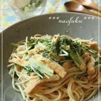 水菜とお揚げのペペロンチーノ