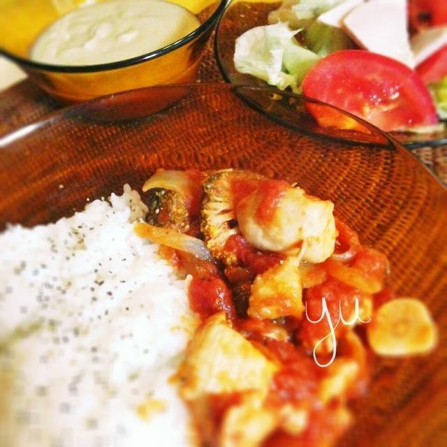 チキンとブロッコリーのトマト煮込み