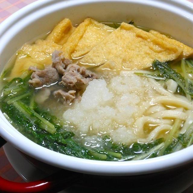 お疲れ〜で風邪気味の簡単晩ご飯は、さっぱり!熱々、豚肉と水菜のみぞれ鍋うどん。