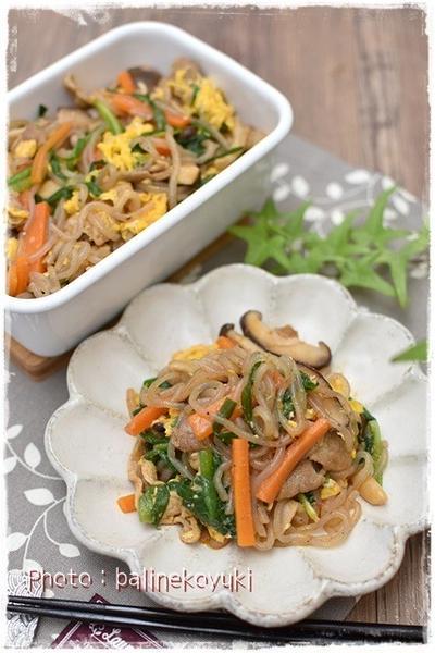 作りおき お弁当にもオススメ ヘルシー!野菜ときのこと糸こんにゃくの炒め物チャプチェ風