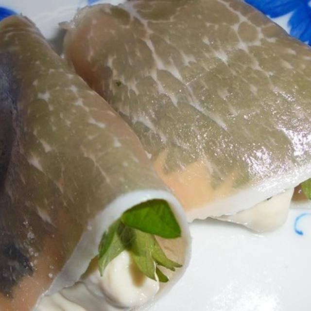 健康お豆腐レシピ78 湯葉海苔大葉生ハムまき