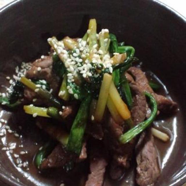 我が心のふるさと北海道の味 行者ニンニクと牛肉の中華風炒め