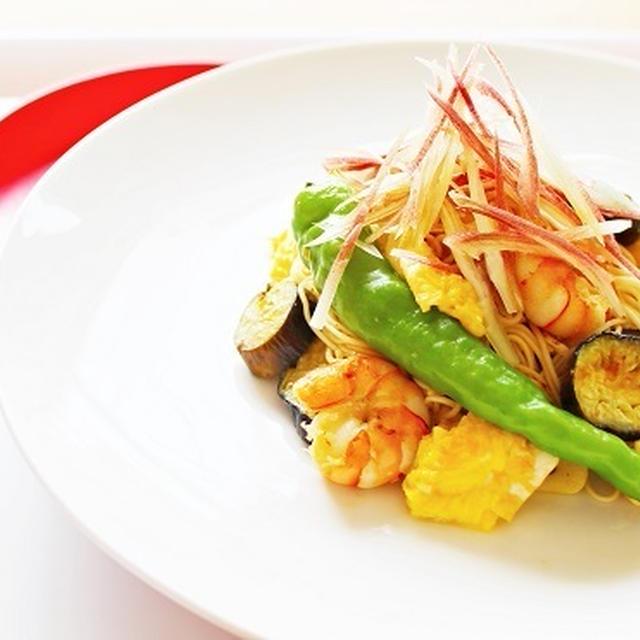 【姫ごはん☆美脚レシピ】夏野菜のオイスターそうめんチャンプルー~『夏のカラダは夏野菜を』
