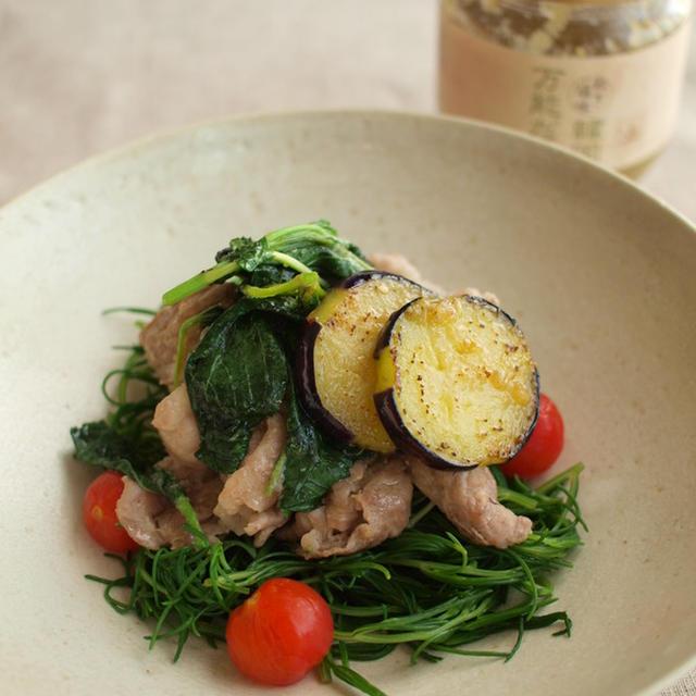 夏野菜と豚肉のねぎ塩炒め