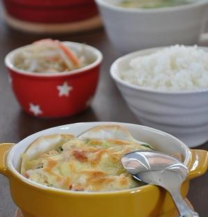 【一汁二菜14分ごはん】旨い!お手軽!豆腐と餃子の皮でヘルシーキッシュ献立