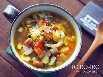 コロコロ野菜とウインナーのカレースープ、きゅうりのピクルス、今日のレシピ