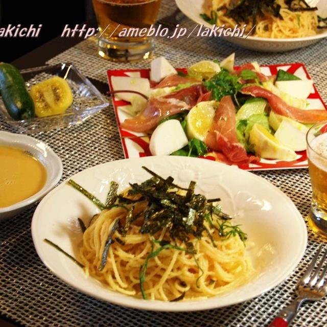 たらこパスタ定食~小夏と生ハムのサラダ・ホテルのコーンスープ・じゅーしーミニQとつくれぽ