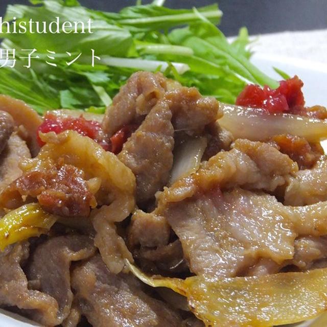 ミントのオトコ飯 「豚こまのはちみつ梅生姜焼き作ってみた」
