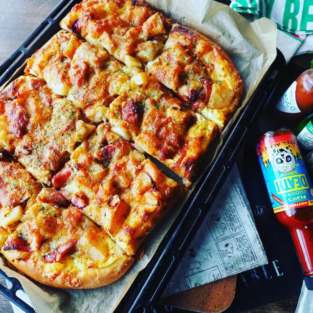旬の新じゃがをどっさりつかって❤️ジャーマンポテト天板ピザ♪