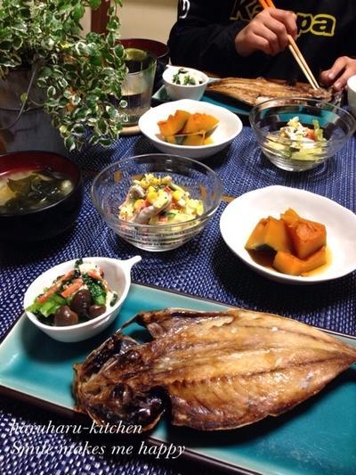 キャベツとささみのうまうまサラダ♪レンジde簡単かぼちゃ煮♪…まごはやさしい和食な晩ごはん♡