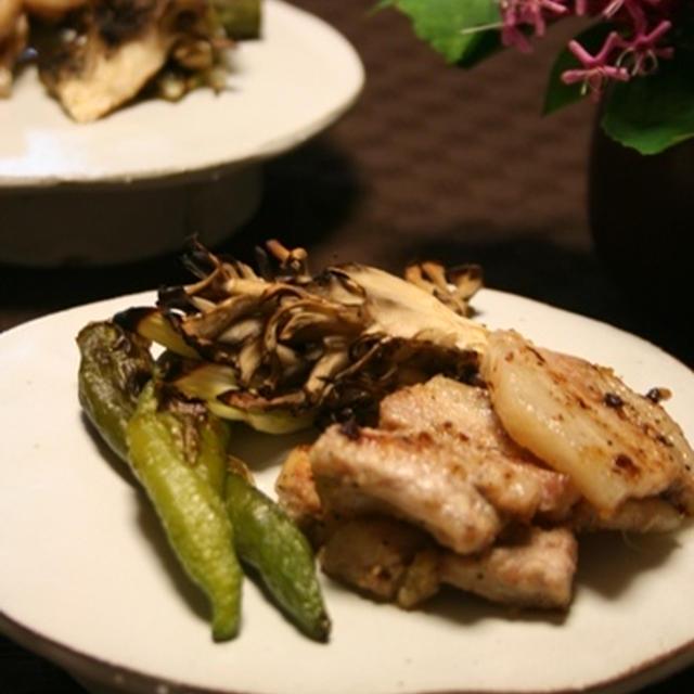 豚の生姜焼きと野菜のグリル。