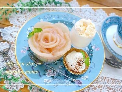 >簡単!自家製*桃の缶詰で作る『桃バラ』デザート by 桃咲マルクさん