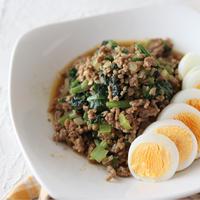 (おかずレシピ)スパイス活用!小松菜とミンチのガラムマサラ炒め
