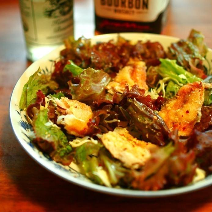 サニーレタスと鰯の唐揚げのサラダ