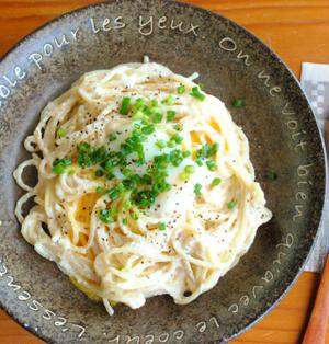 ヘルシー♪豆腐クリームで カルボナーラ風 冷製パスタ ☆