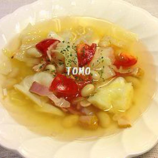 心も体もポッカポカ♪キャベツとトマトのガーリックスープ〜大豆入り〜
