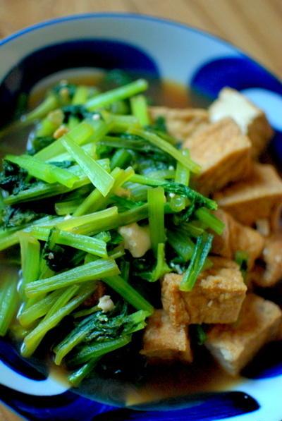 簡単♪厚揚げと小松菜の煮びたし Fried Tofu with Japanese Spinach