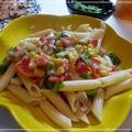 塩豚とカラフル野菜のチーズクリームペンネ